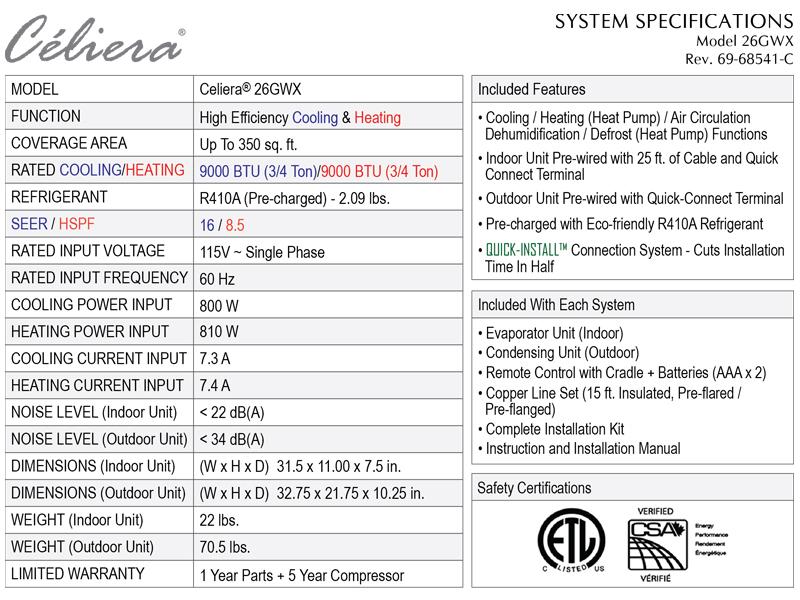 Celiera 26GWX Specifications