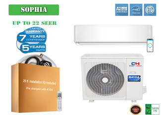 Cooper&Hunter Sophia  Series 12000 BTU 230V Wall Mount  Mini Split Air Conditioner Heat Pump 21.5 SEER