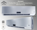 No Ductwork? No Problem. Amvent Ductless (Duct-Free) Mini Split Air Conditioning Systems can be installed in virtually any location. Amvent systems provide high efficiency cooling and heating, and are far more economical when compared to conventional central air conditioning systems. Ductless Mini Split Air Conditioners are also known as Zone Systems, cooling or heating the area in which they are installed. The system can be turned on or off when the zone is in use; this capability allows for substantial energy savings. Ductless Mini Split systems have two main components: 1) the indoor unit (Evaporator), 2) and the outdoor unit Condenser). Installation is simple: the indoor unit hangs on a metal bracket (supplied) that attaches to the interior wall, much like a picture frame. A three-inch-wide hole is then drilled through the wall. The line set (refrigerant gas pipes) and communication wires are passed through the hole, connecting the indoor and outdoor units. Main power is supplied to the outdoor unit, powering the indoor unit as well. Once installed, the entire system is operated by a wireless remote control (supplied). Just use the remote to set the desired temperature and the system will run, maintaining the set comfort level. Amvent Ductless Mini Split Air Conditioning Systems are designed to be easy to use and install, durable, economical, and versatile while providing an attractive and modern accent once in use - a perfect union of comfort and elegance.