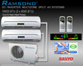 Ramsond DC Inverter Dual Zone (9000+9000 BTU) Ductless Split AC System w/ Heat Pump