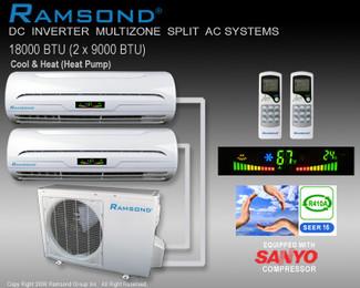 Ramsond DC Inverter Dual Zone (9000+9000 BTU) Ductless Split AC System w/ Heat Pump