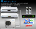 Ramsond DC Inverter Dual Zone (9000+12000 BTU) Ductless Split AC System w/ Heat Pump