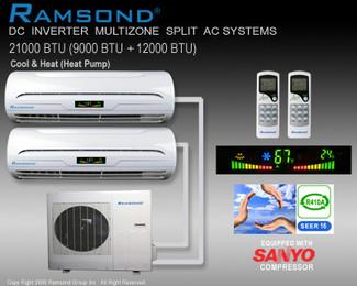 Ramsond DC Inverter Dual Zone (9000+12000 BTU) Ductless Split AC System w/ Heat Pump