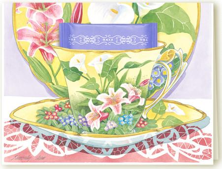 Lilies Teacup Greeting Card - KimberlyShawGraphics.com