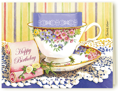 Happy Birthday Teacup Greeting card with a delicious ...