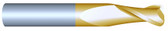 "#2250R020TIN----2 Flute 1/4"" Dia. x 3/4"" LOC x  2 1/2"" OAL w .020 Radius"