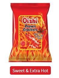 OISHI PRAWN CRACKERS - SWEET AND EXTRA HOT FLAVOR 60G