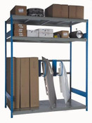 "Sheet Metal Panel Rack, 96"" x 36"" x 75"" high, 2 Shelf Levels & Tall Bay with Dividers (1432)"
