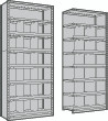 Closed Shelving Bin Units with 19 Openings, Starter and Adder