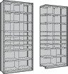 Closed Shelving wth 25 Bins, Starter & Adder
