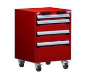 Mobile Drawer Cabinet Rousseau Heavy Duty R5BCD-2803 Flame Red