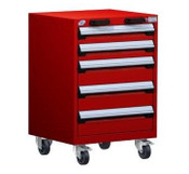 Mobile Drawer Cabinet Rousseau Heavy Duty R5BCD-3055 Flame Red