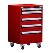 Mobile Drawer Cabinet Rousseau Heavy Duty R5BCD-3401 Flame Red