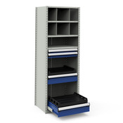 NCS2392 in Light Gray Shelving & Avalanche Blue Drawers