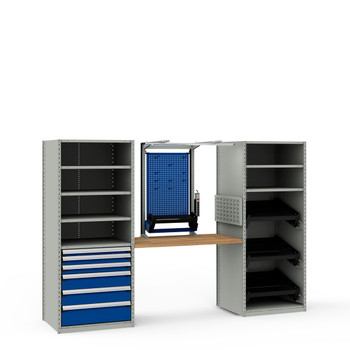 NCS8095 in Light Gray Shelving and Avalanche Blue Drawers