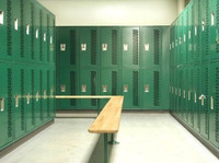 All-Welded Ventilated Athletic Lockers. Modification of Heavy Duty Ventilated lockers featuring one-piece back and sides.