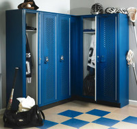 Solid Plastic (HDPE) Athletic Lockers. Scranton Products' Tufftec Single Tier with Full Lattice Mesh Ventilation.