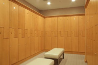 "New Wood Lockers. Legacy ""Z"" lockers with maple veneer slab doors."