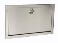 Stainless Steel clad, recessed Baby Changing Station in closed position