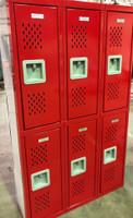 "12"" wide x 12"" deep x 60"" high New Overstock Red Diamonds Double Tier 3 Frames 6 Lockers"