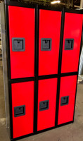 "12"" wide x 12"" deep x 60"" high New Overstock Red Black Double Tier Lockers 3 Frames 6 Lockers"