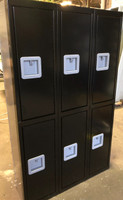 "12"" wide x 12"" deep x 60"" high New Overstock Black Double Tier Lockers"
