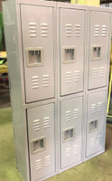 "12"" wide x 12"" deep x 60"" High New Overstock Grey Double Tier Lockers 3 Frames 6 Lockers"