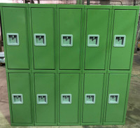 "12"" wide x 12"" deep x 60"" high New Overstock Pea Green Double Tier Lockers"