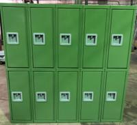 "12"" wide x 12"" deep x 60"" high New Overstock Pea Green Double Tier Lockers"