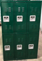 "12"" wide x 12"" deep x 60"" high New Overstock Green Double Tier Lockers"