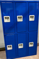 "12"" wide x 12"" deep x 60"" high New Overstock Blue Double Tier Lockers 3 frames 6 Lockers"