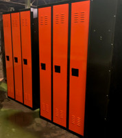 "12"" wide x 12"" deep x 72"" high New Overstock Single Tier Black Orange 3 Frames 3 Lockers"