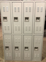 "12"" wide x 12"" deep x 72"" high New Overstock Single Tier Grey 8 Lockers"