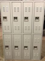 """12"""" wide x 12"""" deep x 72"""" high New Overstock Single Tier Grey 8 Lockers"""