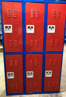 "15"" wide x 15"" deep x 60"" High New Overstock Red Blue Double Tier 6 lockers"