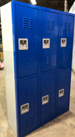 "15"" wide x 15"" deep x 72"" High New Overstock Blue Double Tier 6 Lockers"