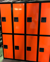 "15"" wide x 15"" deep x 72"" high New Heavy Duty Double Tier Orange and Black 8 Lockers"