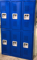 "12"" wide x 12"" deep x 60"" high New Overstock Blue Double Tier Diamonds 6 Lockers"