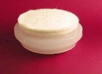 "Chair Glide Cap. Nylon with Molded Fiber (Felt-Like) Base. Snaps On Steel Based Glide of 1-1/4"" Diam. Base. #28C12"