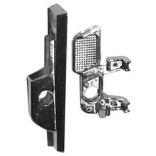 """Republic #12 LEFT hand locker handle assembly. The tangs (prongs) on this handle form right angled """"feet"""" that engage the lock bar."""