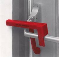 Security Latch #5507 installed on single left hand panic door with push bar type exit device.