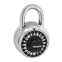 Master Lock 1572. Letter Combination Padlock. NOT Keyed. Comes in different colors. Since the dial has Letters instead of numbers, the combination is SO much easier to remember!