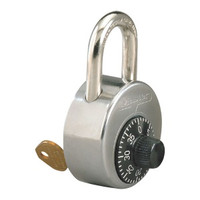 "Master Lock 2010 High Security Combination Padlock. Control Keyed. Anti-Shim design, Stainless Steel body for greater strength! Control Keyed. 1"" shackle for locker WITHOUT recessed handle."