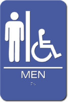 Men's Restroom Sign. Wheelchair Accessible. ADA Compliant with Braille. #09003