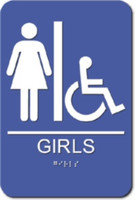Girls' Restroom Sign. Wheelchair Accessible. ADA Compliant with Braille. #09022