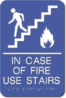 In Case of Fire Use Stairs Sign. ADA Compliant with Braille. #09017