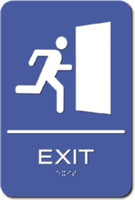 Exit Sign. ADA Compliant with Braille. #09010