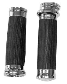 "Chrome Tornado Grips - fits Harley Davidson with Dual Cable 1"" Handlebars"