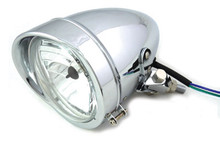 "Chrome 4-1/2"" Bullet Headlamp with Visor"