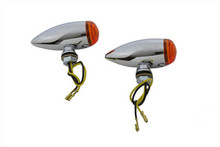 Turnsignals LED Mini Chrome Bullet Speeder Style - Amber